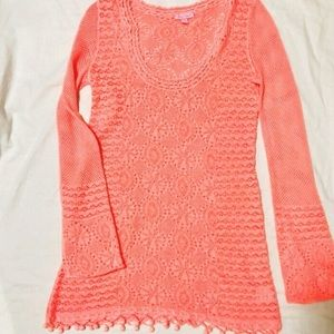 Lilly Pulitzer Coral Athena Crochet Tunic Sweater